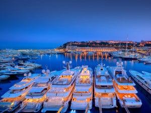 Yachts in Monaco at night