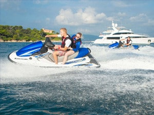 Sea-Doo jet ski riders off the coast of Portofino, Italy