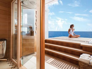 Lady meditates on yacht in the Caribbean