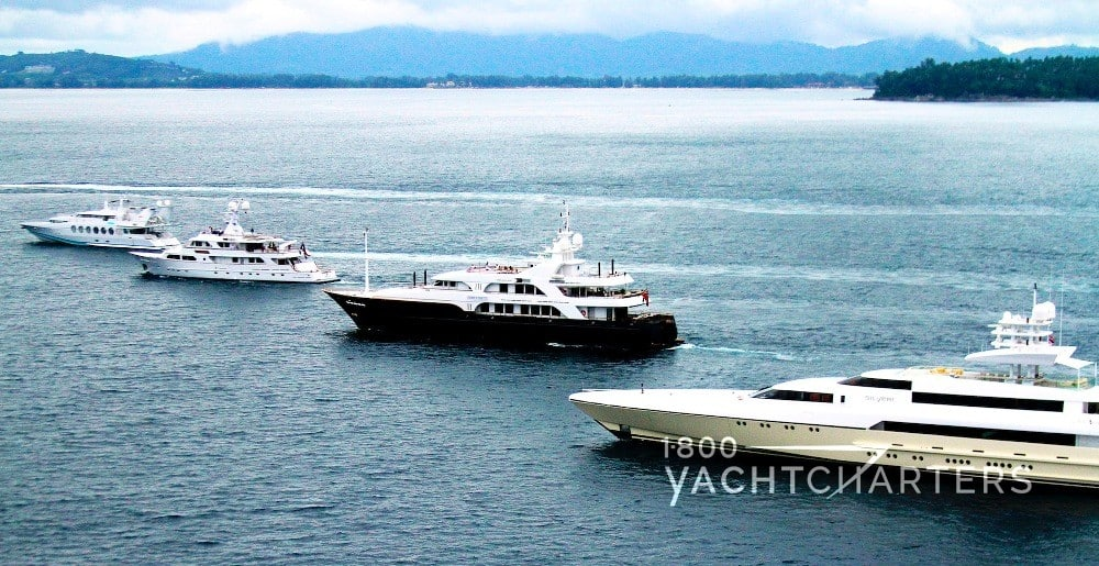 superyachts in a row - showing size perspectives
