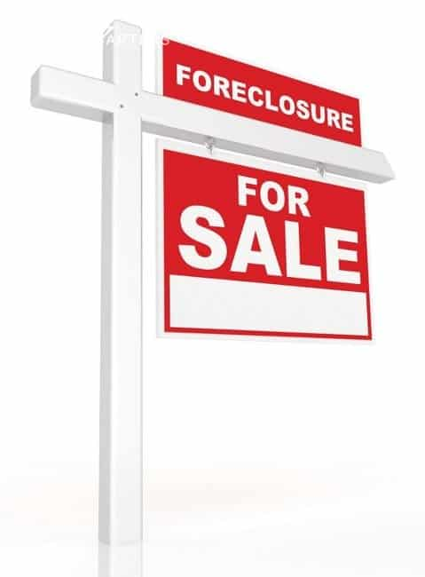 marina foreclosures are the reference here. Drawing of a For Sale sign. It is white with red outlines around letters. On the top of the sign is the word, foreclosure.
