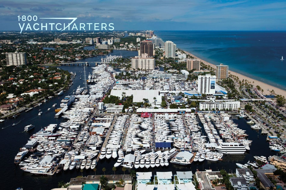 Aerial photograph of the Ft. Lauderdale Boat Show.  Thousands of yachts at docks.