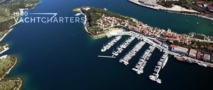 Aerial photograph of the Mandalina Marina and Yacht Club in Sibenik, Croatia