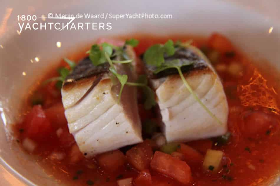 Photo of a plated yacht menu item - seared spanish mackerel with tomato vinaigrette