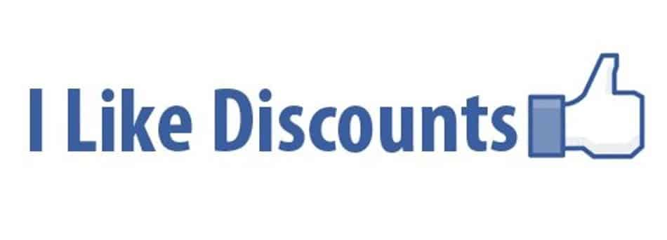 Discounts. Words, I Like Discounts, in purplish blue, with a thumbs up symbol at the end.