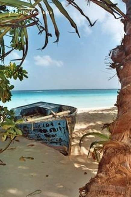 Picture of an old rowboat on a tropical island. The rowboat is blue, and the paint is very chipped.