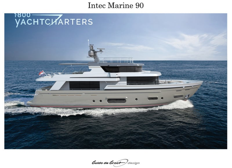 Green star design photograph of profile of Intec Marine 90 hybrid yacht underway.