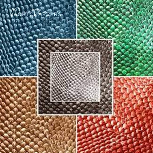 salmon skin collage. Top left is blue. Top right is green. Bottom left is gold. Bottom right is orange. Center is a box that is a dark grey outline with silver skin in a smaller box within that one.