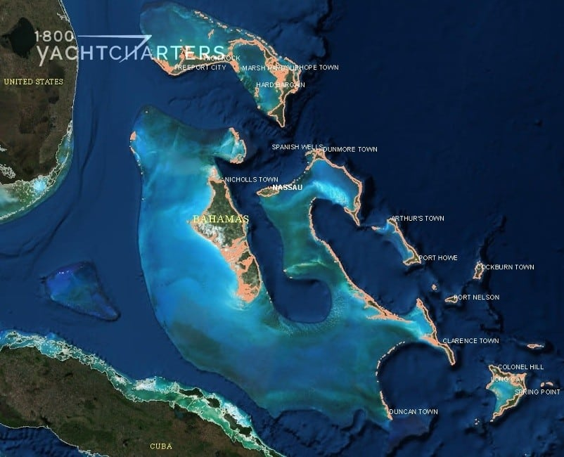 map of florida and the bahamas and cuba. Satellite image with labels.