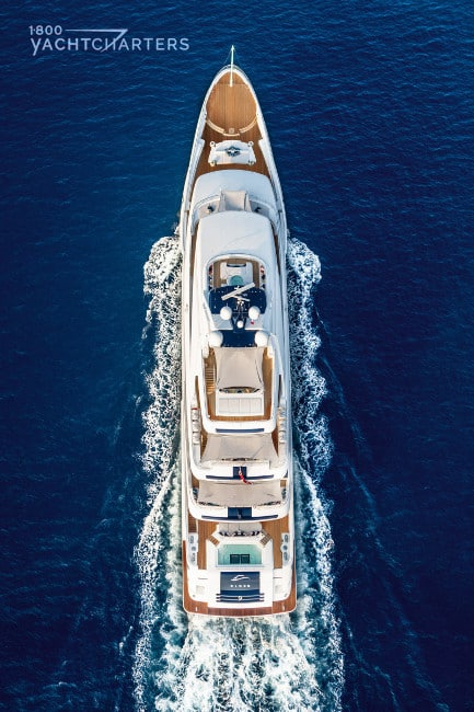 Cloud 9 motoryacht aerial photo. Yacht is underway