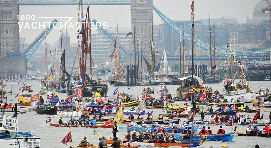 Queens Jubilee Flotilla photo. London harbor. Yachts and sailboats and colorful atmosphere under the London Bridge.