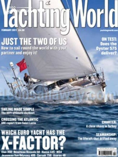 Yachting World magazine cover with photo of sailboat On Liberty on it.