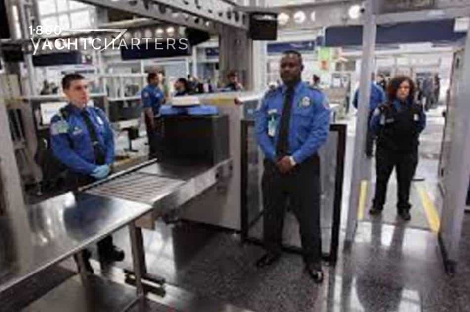 Body scanner photograph of tsa agents at the airport
