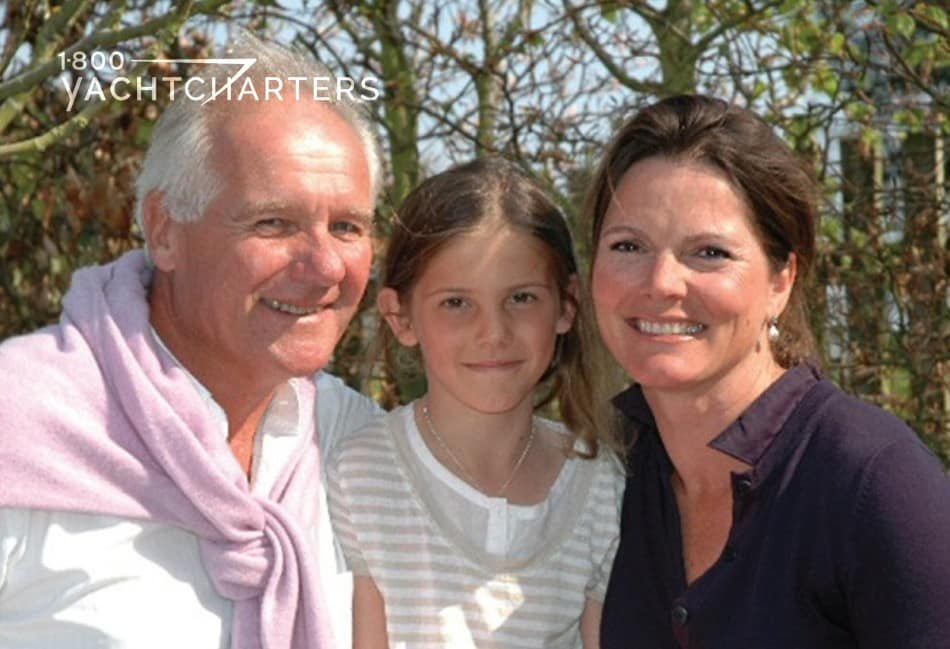 Photograph of yacht designer, Ed Dubois, and his wife and daughter