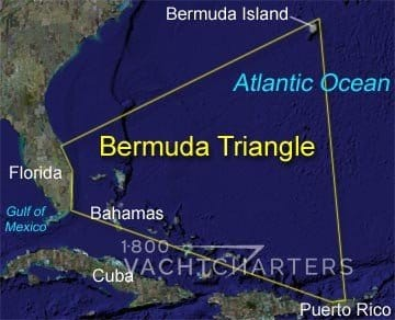 Map Of Florida And Cuba.Bermuda Triangle Map Florida Bahamas Yacht Charter Cuba Puerto Rico