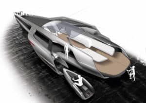 Aerial drawing of layout of trimaran concept motoryacht. The drawing shows 3 white images of people's bodies on the yacht and on the tender.
