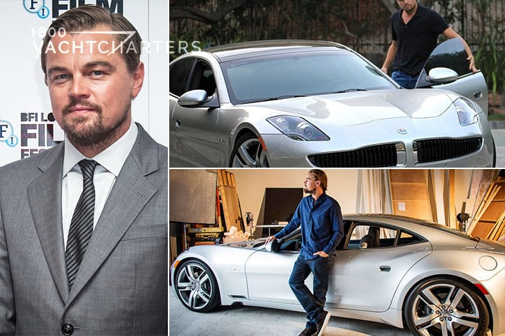 Collage of 3 photographs of Leonardo diCaprio. Left photo is of Leo in a grey suit and standing in front of a white banner at a special event. Top right is a silver sportscar. Bottom right is Leo standing next to a silver sportscar in a showroom