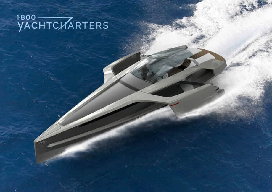 Aerial drawing of futuristic trimaran concept motoryacht