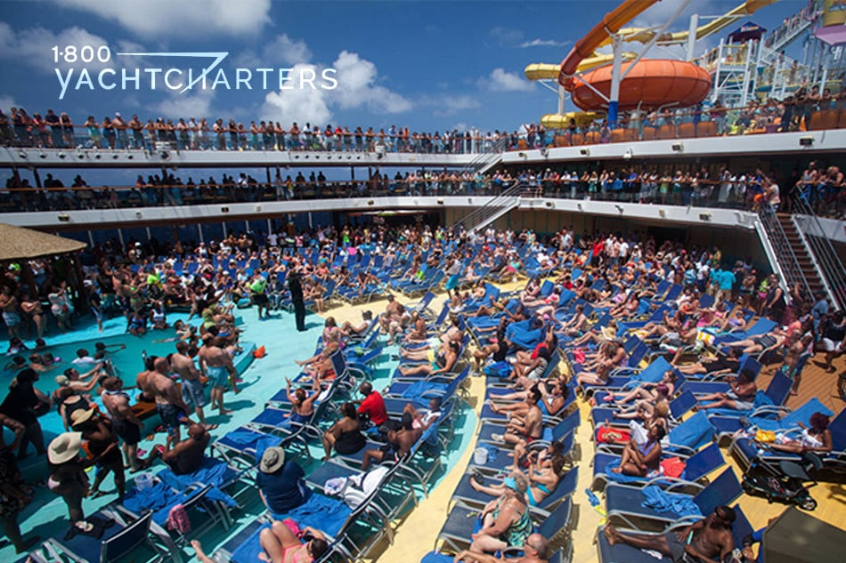Photograph of a crowded cruiseship deck