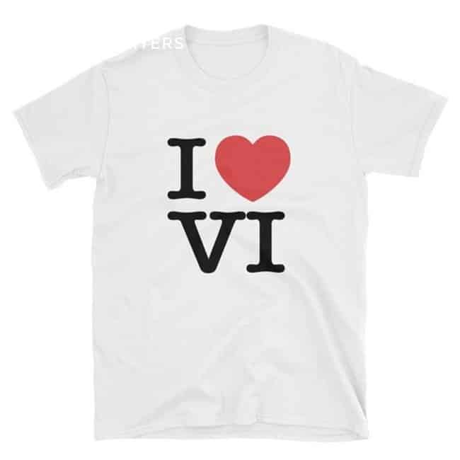 White short-sleeved t-shirt that says I heart VI