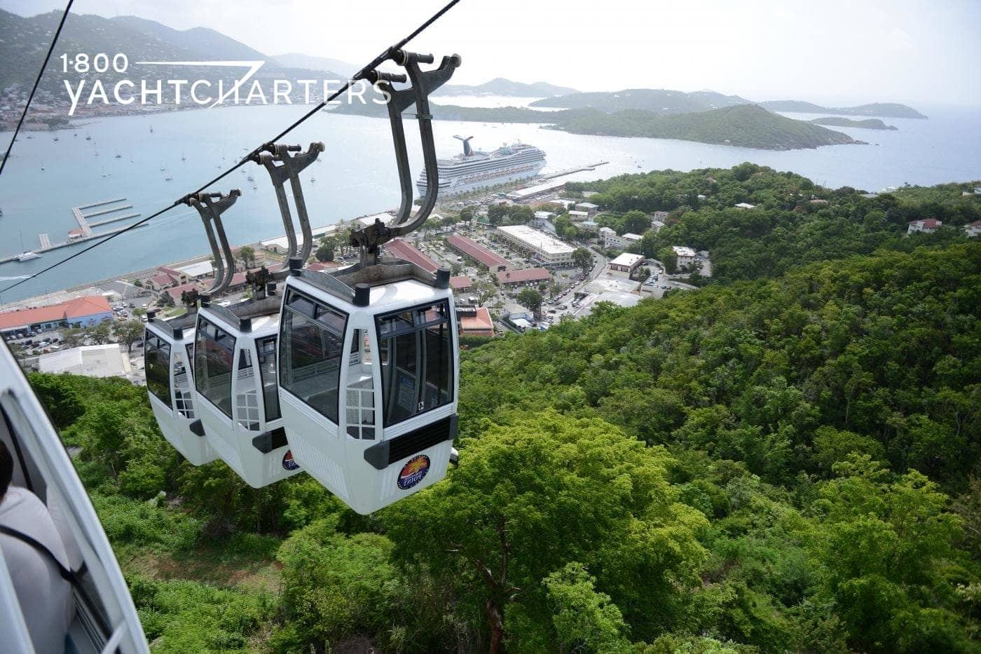 Photograph of the skyride above Charlotte Amalie marina in St. Thomas, USVI