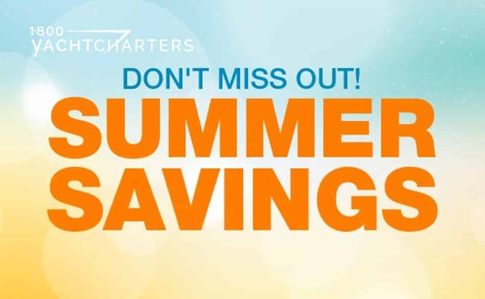 Banner that says Don't Miss Out! Summer Savings. Summer savings is in orange, and don't miss out is in teal. It is set on the backdrop of a sand beach and blue sky. It's a drawing.
