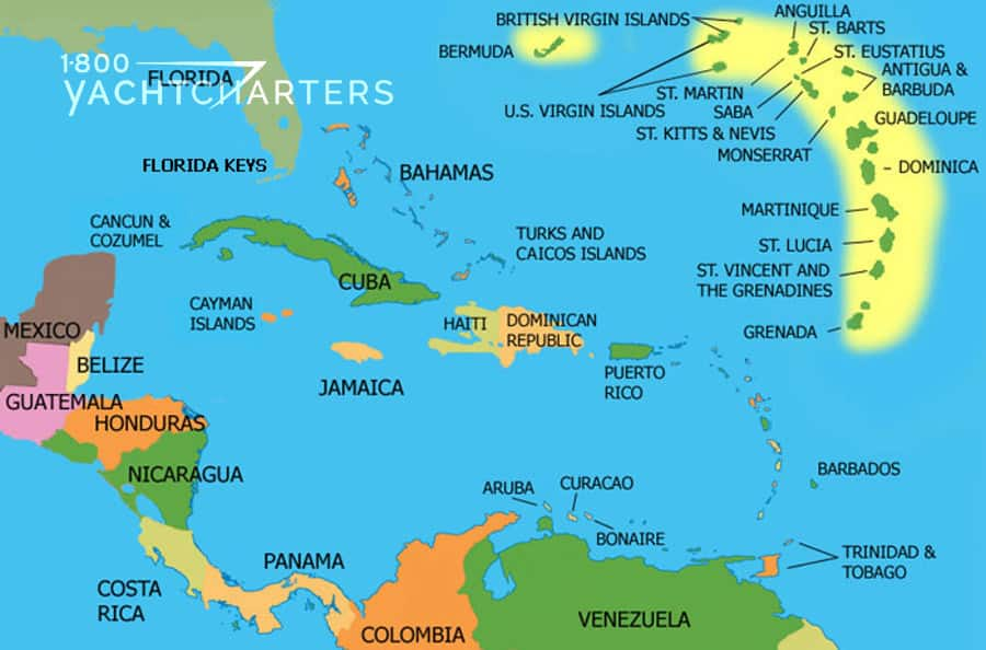 Map of the Caribbean. Drawing.