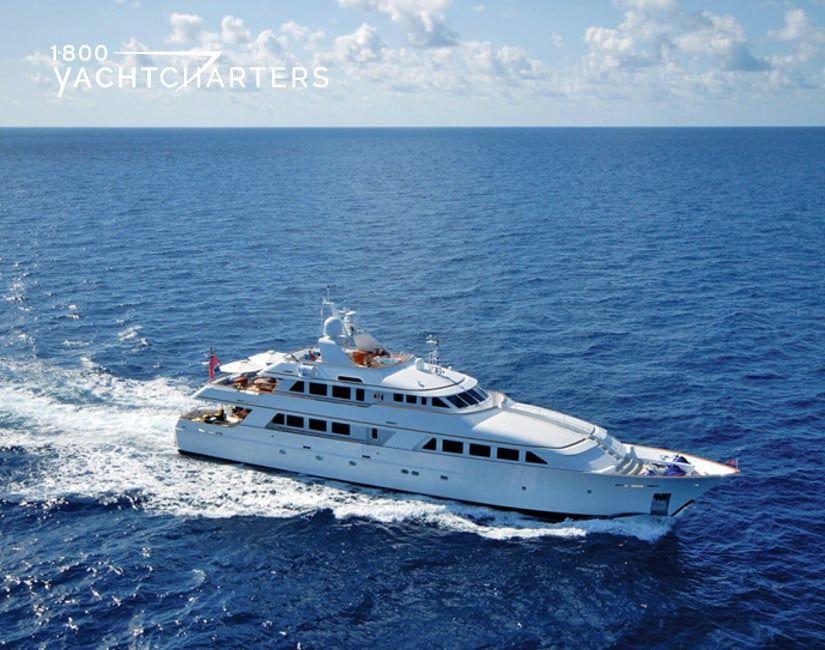 Aerial photograph of motoryacht Lady J underway.