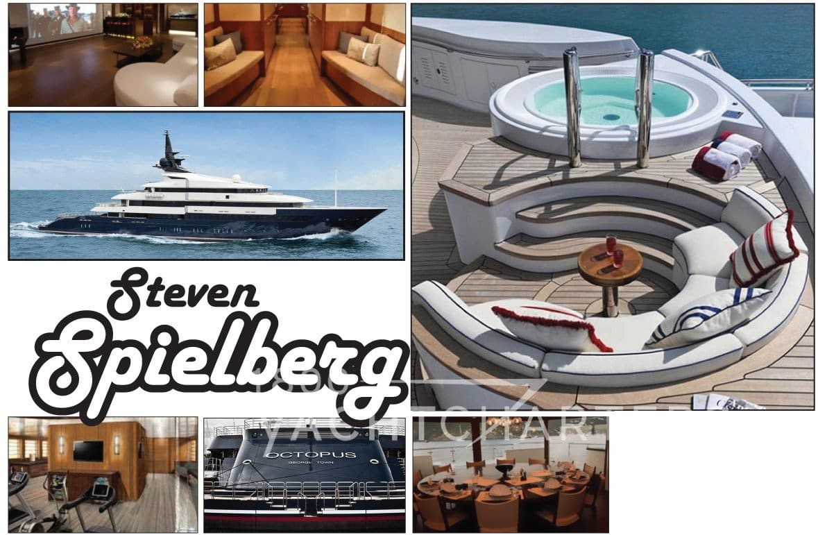 photograph of yacht Seven Seas and owner Steven Spielberg. Photo collage of Spielberg and the yacht areas like hot tub, salon, and aft deck.