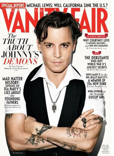 The cover of Vanity Fair magazine, featuring Johnny Depp, who is a yacht owner