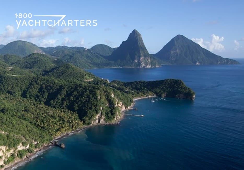 Aerial photograph of St. Lucia. Pitons mountains appear in the background.