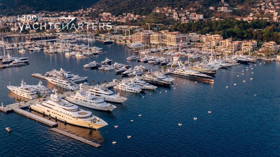 Aerial photograph of a superyacht marina in Porto Montenegro.