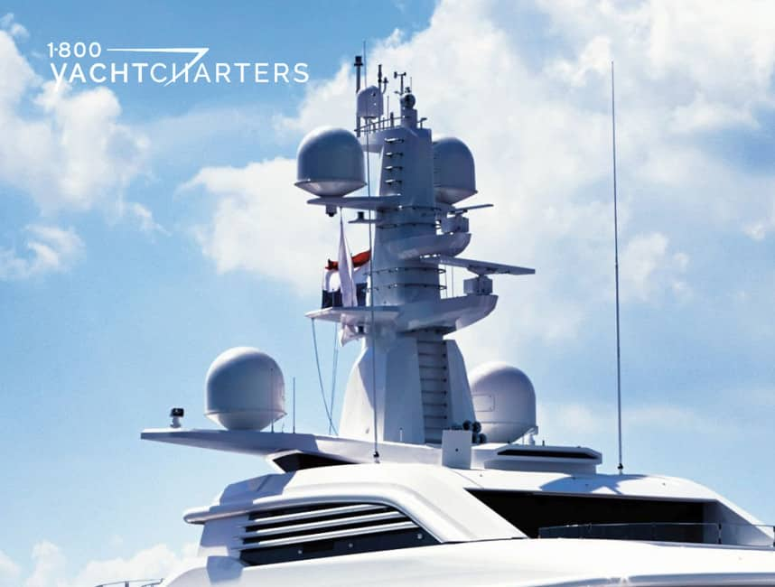 Photograph of the VSAT antennae on the top of a motoryacht.