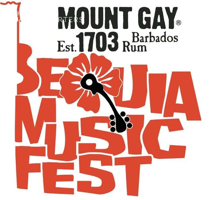 Bequia Music Fest logo, sponsored by Mount Gay Rum