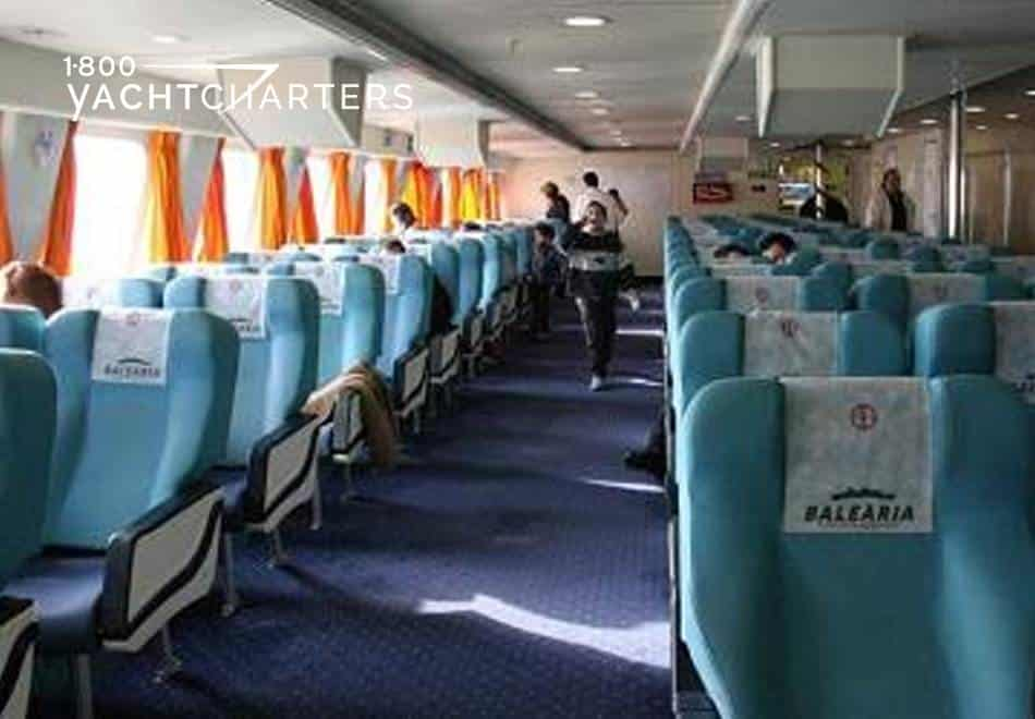 Photograph of interior seating of high speed ferry boat that services the Bahamas and Mediterranean