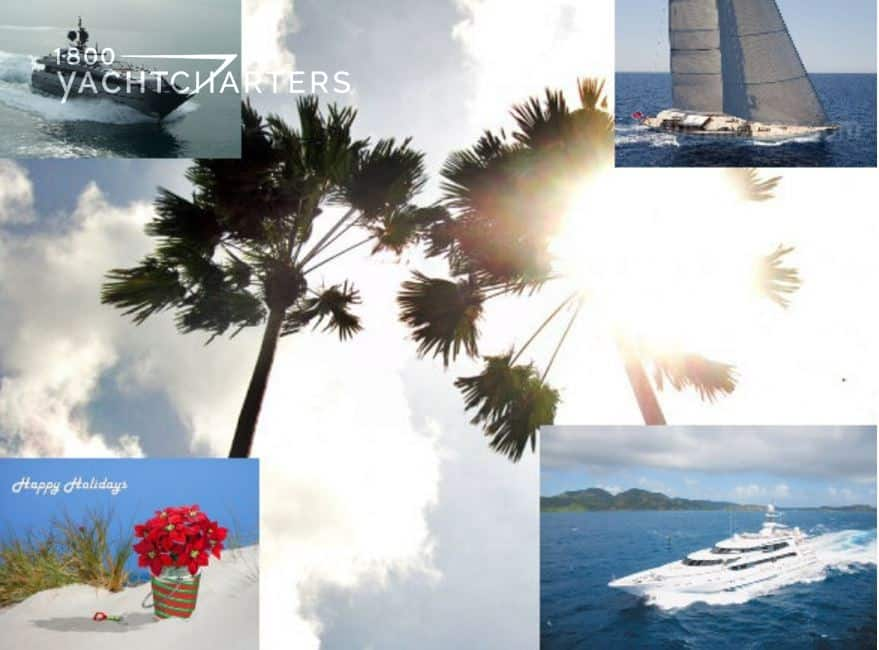 Collage of photographs of 4 boat photos, one in each corner. There is a palm tree with sunlight behind it in the center. 2 powerboats are in corners, 1 sailboat, and 1 flower pot of poinsettias.