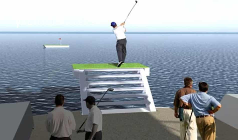 Computerized concept drawing of 4 men with golf clubs and 1 man up on a golf green on the back of motoyacht, Star Fish.