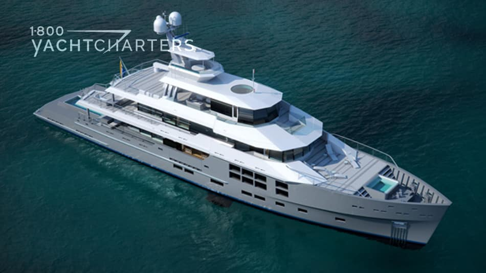 Aerial photo of concept motoryacht, Star Fish. She has a grey hull and white superstructure. She is facing the lower right corner of the photo. She is at anchor.