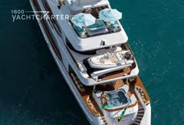 Aerial photograph of motoryacht TOUCH. Photo shows the multiple decks of the yacht.