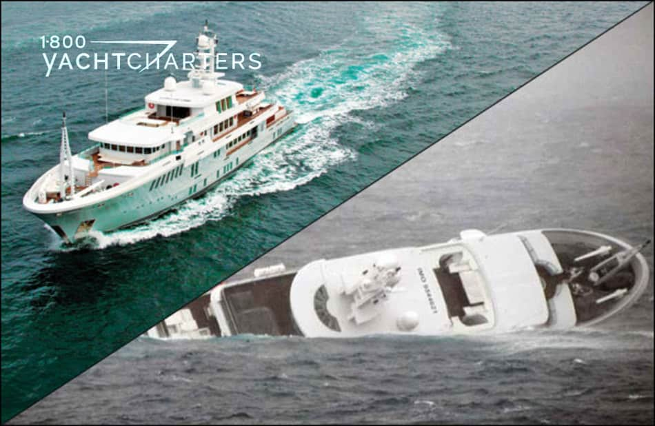 Double photograph of motoraycht Yogi. The top left diagonal photo is the yacht underway. The bottom right diagonal photo is a picture of the boat on its side, as it is sinking.