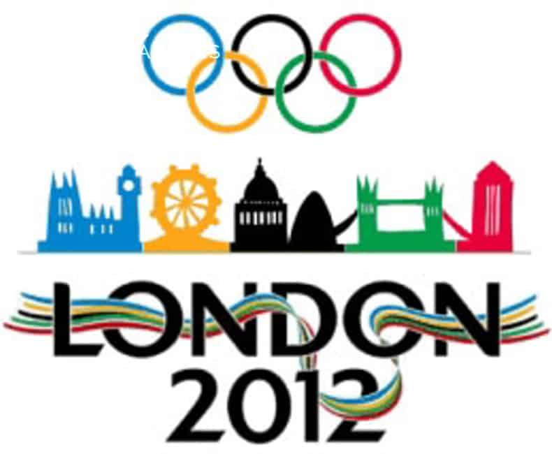 Graphic of London Olympics 2012 logo. Version has Olympic rings at top, Tower of London, Ferris Wheel, Big Ben, London Bridge drawings in center to match the colors of the rings, and the words, London 2012, with colorful ribbon entwined in letters and numbers