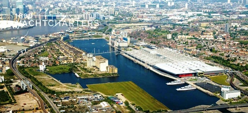 Aerial photograph of London England. The photograph shows multiple waterways where superyachts can be docked for the olympics.