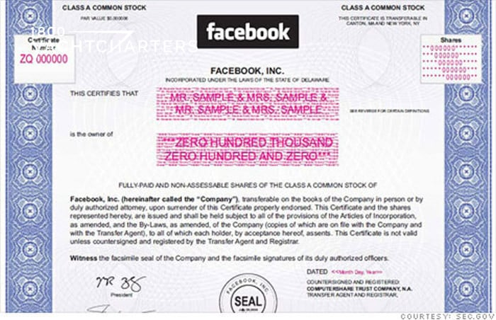 Photograph of a sample Facebook Stock Certificate