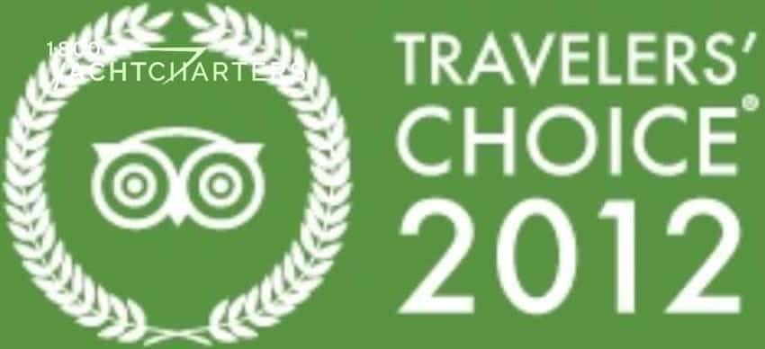 Green background with white writing on logo. TripAdvisor Traveler's Choice Award 2012.