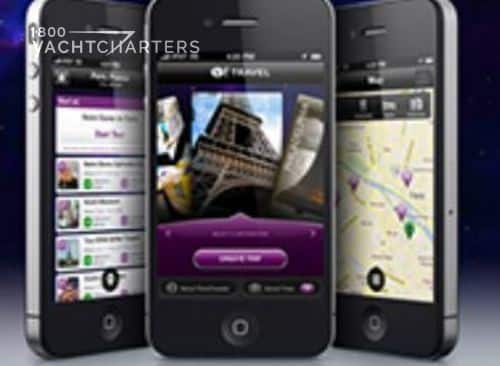 Photograph of 3 smartphone screens next to each other.  Each screen shows a different page of a smartphone travel app. The first screen shows the selection choices for deciding where to go. The second screen shows a photo. The third screen shows a map.