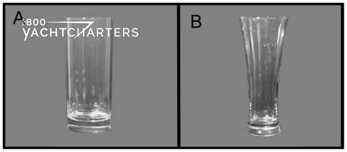 Photograph collage of 2 drinking glasses. On the left, it reads, box A,. The glass is straight.  On the right, it reads, Box B.  The glass in that box is curved (thinner at the bottom, and wider at the top).