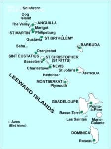 Drawing of Leeward islands of the Caribbean.