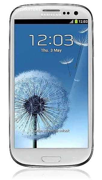 Photograph of a white Samsung Galaxy S3 smartphone.  The screen saver is blue with a white fluffy dandelion seed pod on it. A few of the fluffy blooms have launched into the air.