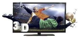 Photograph of a 3D HDTV television standing on white space. The screen shows 2 soccer players leaping in the air.  The player in the background is wearing an orange shirt and black pants.  His arms are spread, as if he is flying.  His body is facing front, but his head is looking toward the right side of picture.  The player at the front of the picture is wearing green shirt and black pants.  His back is to the front of the photo.  His left leg is intersecting with the right arm of the player at the back of the photo. The background is a full stadium with bright stadium lights shining. The right arm of the green-shirted player is virtually coming out of the screen and going after the solid beige soccer ball, as if he is defending a goal and diving to catch it. He is wearing thick white gloves. It reads 3D, in huge white 3D letters, at the bottom left side of the television. Those letters seem to float off of the television screen.