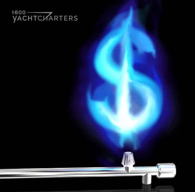 A blue gas flame in the shape of a US dollar symbol, floating above a silver gas release valve